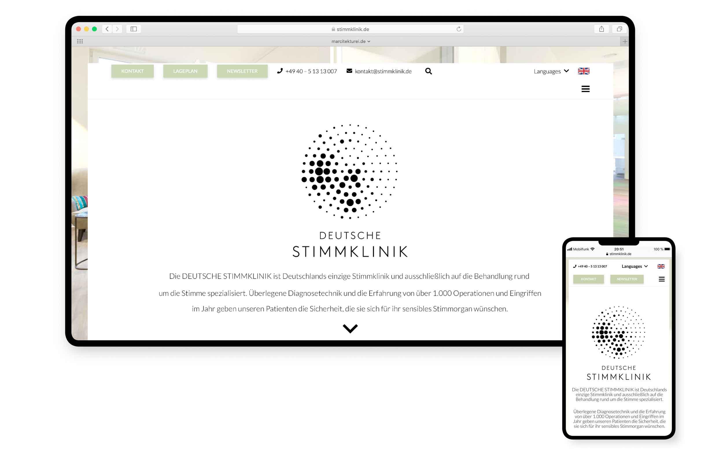 MARCITEKTUREI webdesign | DEUTSCHE STIMMKLINIK | Webdesign aus Hamburg